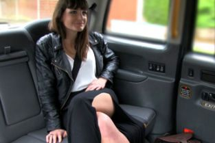 FakeTaxi - Brunette does anal down to the balls