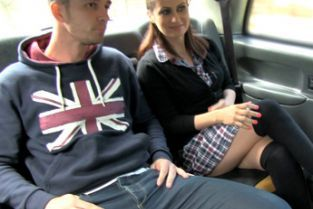 FakeTaxi - Horny couple get it on in rear of cab