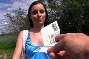 PublicAgent - Slim brunette student fucks in field for cash