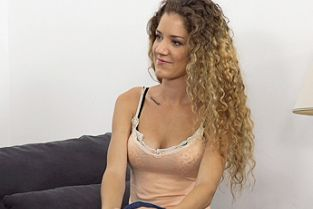 FakeAgent - Slim curly haired babe sucks and fucks in casting interview