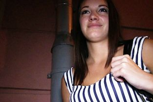 PublicAgent - Pretty young brunette fucks stranger from behind in public