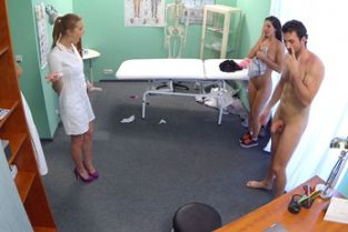 Fake Hospital - Hot nurse joins couple in threesome