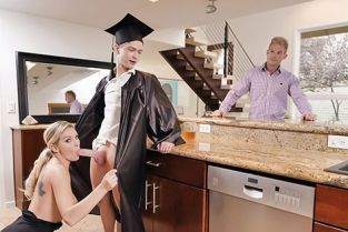 FamilyStrokes - Kenzie Taylor Cap And Gown Dick Down