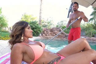BangTrickery - Aubrey Black Gets Both Her Holes Filled By The Pool!