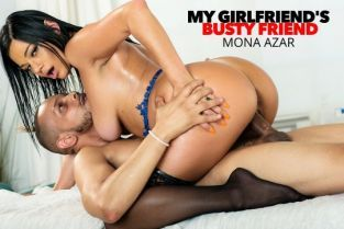 NaughtyAmerica - Mona Azar Sexy and Juicy, Mona Azar, gets oiled up and massaged by her friend's boyfriend, then gets her pussy worked! MyGirlfriendsBustyFriend