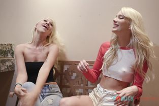 FamilyHookups - Lyra Law, Kenna James Sexy blonde babes Lyra Law and Kenna James tag team a hot guy