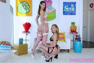 Swallowed - Leah Winters, Charlotte Sins Gagging on Cock
